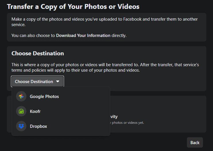 Facebook photo transfer tool dropbox koofr google photos