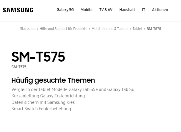 Galaxy Tab Active 3 sm t575 support pages germany