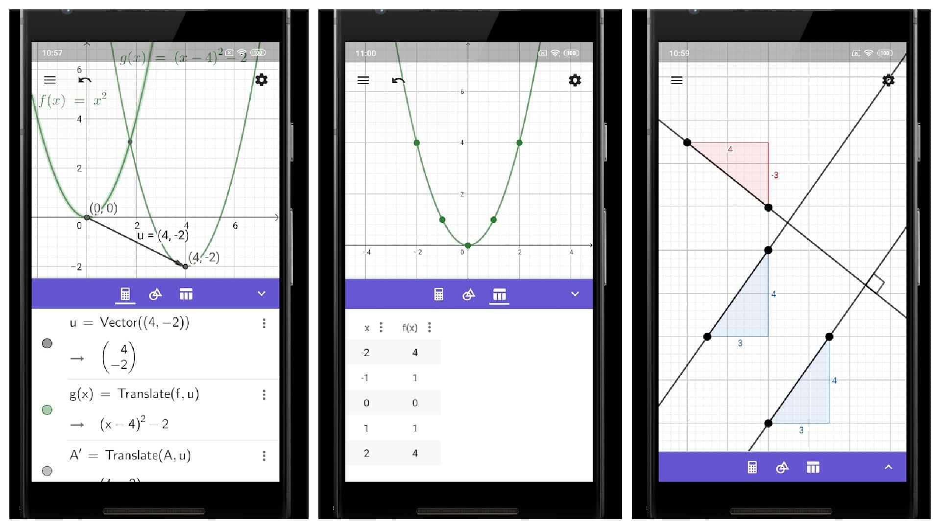 GeoGebra app grid
