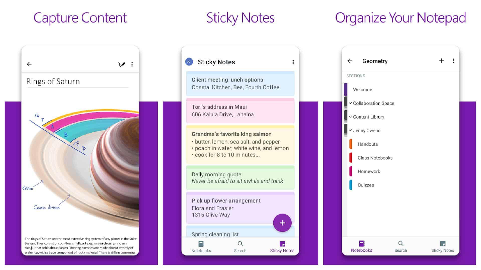 Microsoft OneNote app grid 1