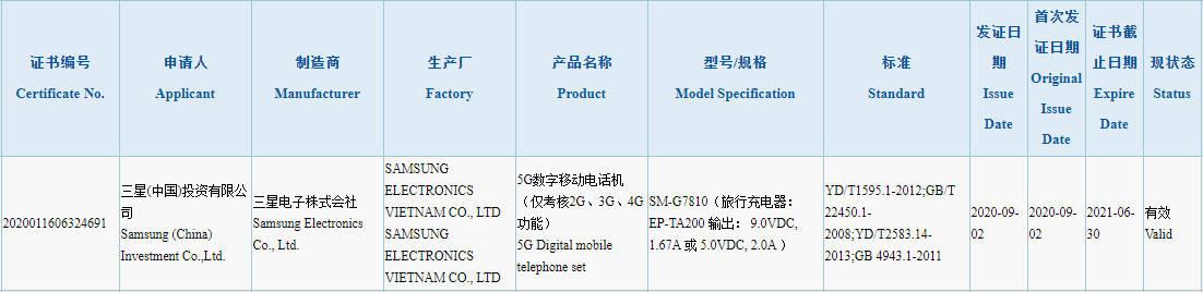 Samsung Galaxy S20 FE Fan Edition charging speeds
