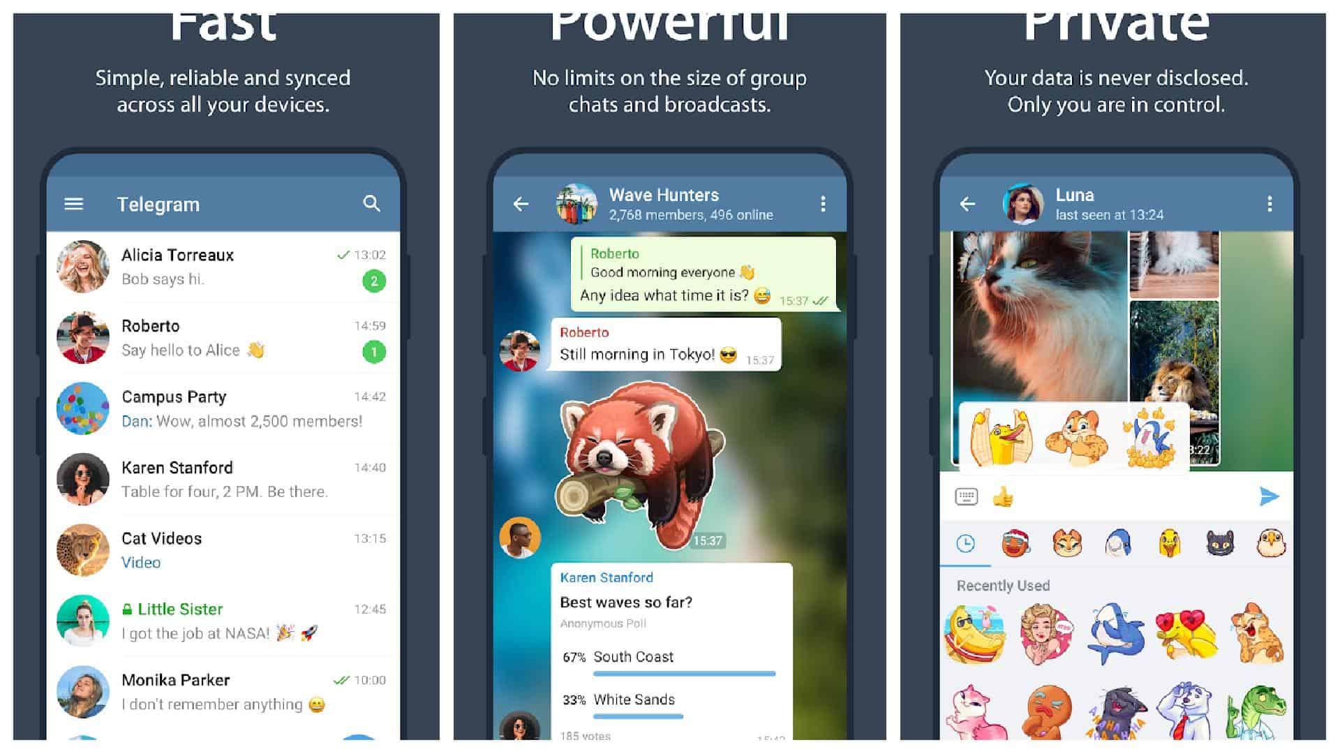Telegram app grid 1