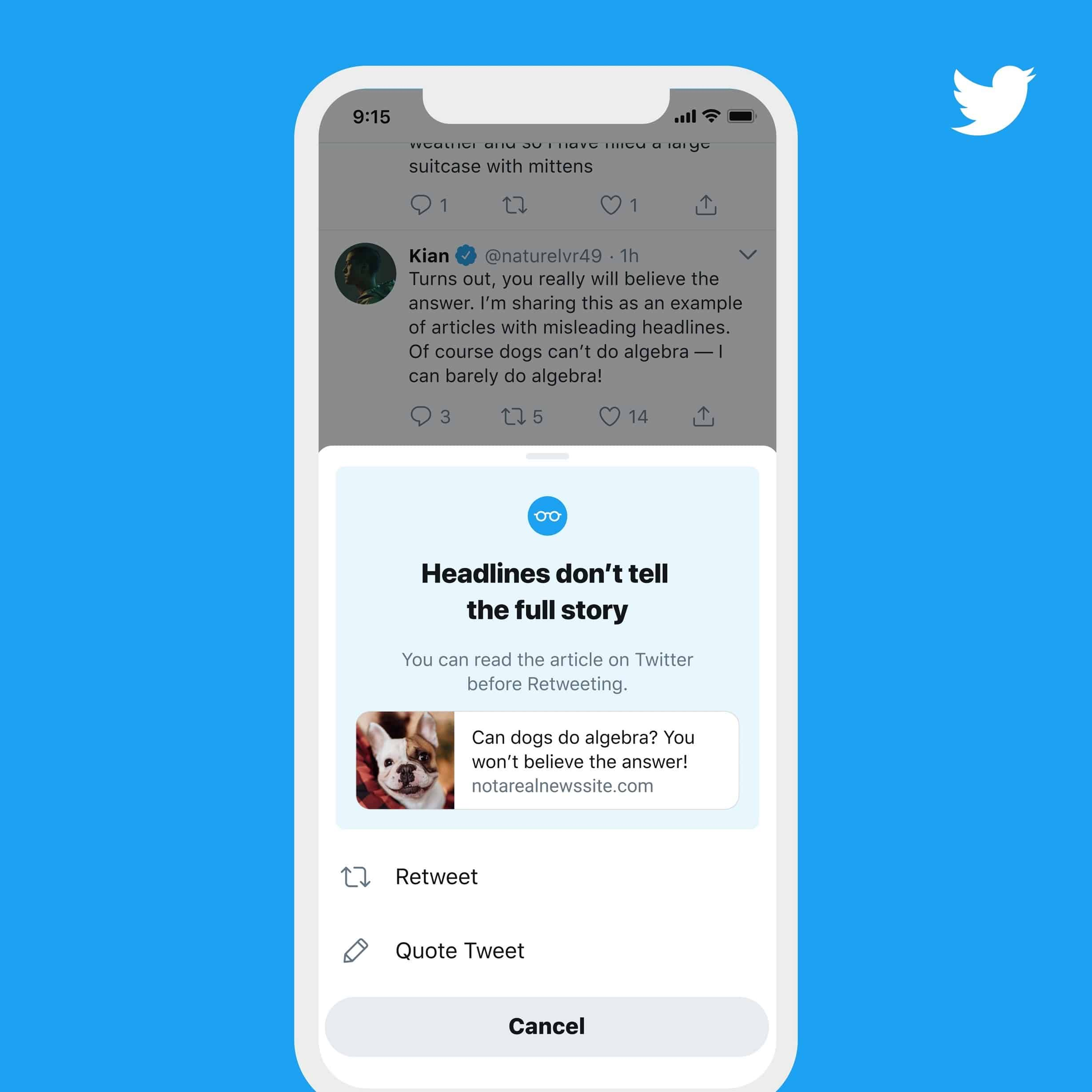 Twitter read article prompt misinformation