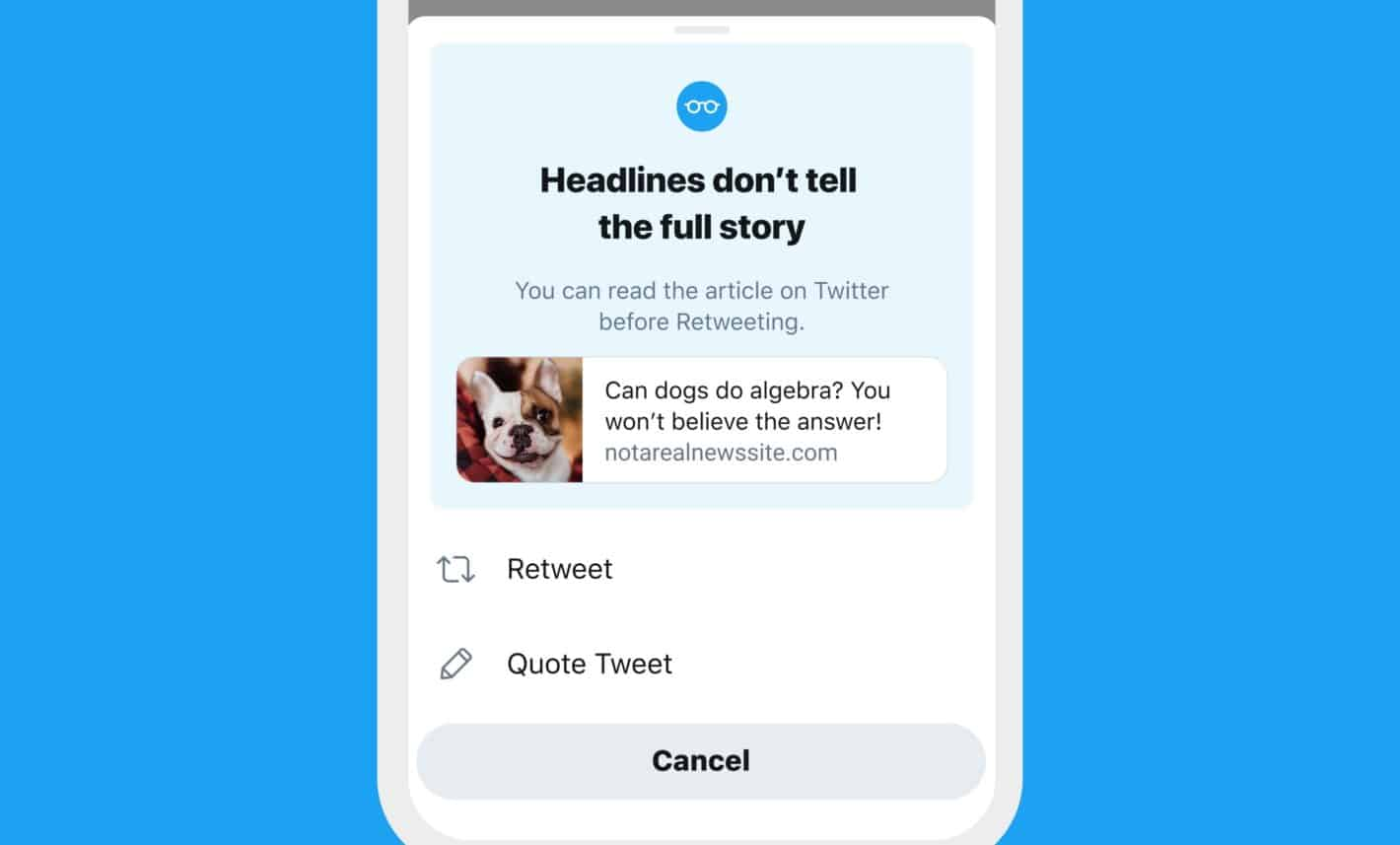 Twitter read articles prompt misinformation 2
