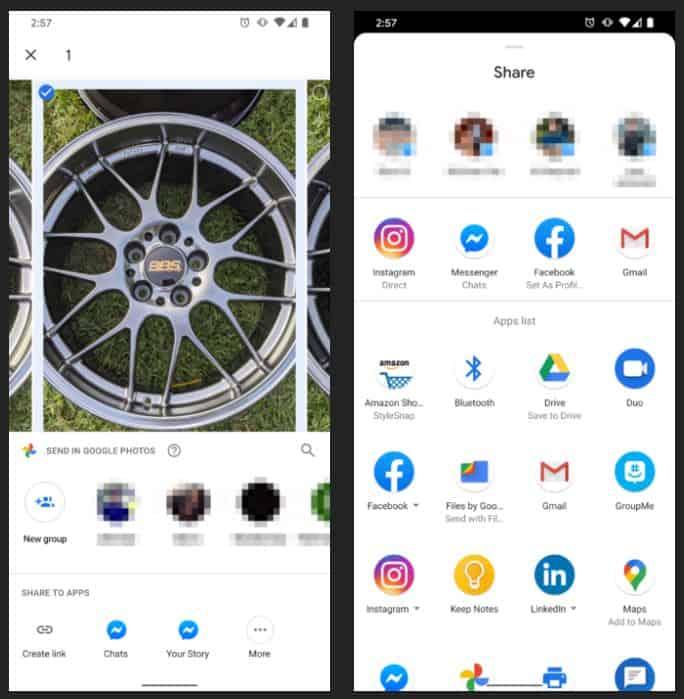 google photos new share menu