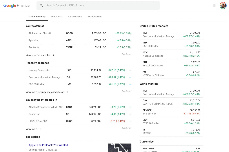 old google finance