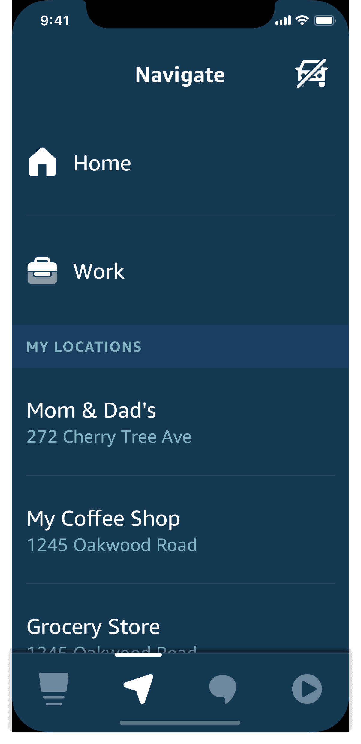 Alexa Auto Mode Navigate screen