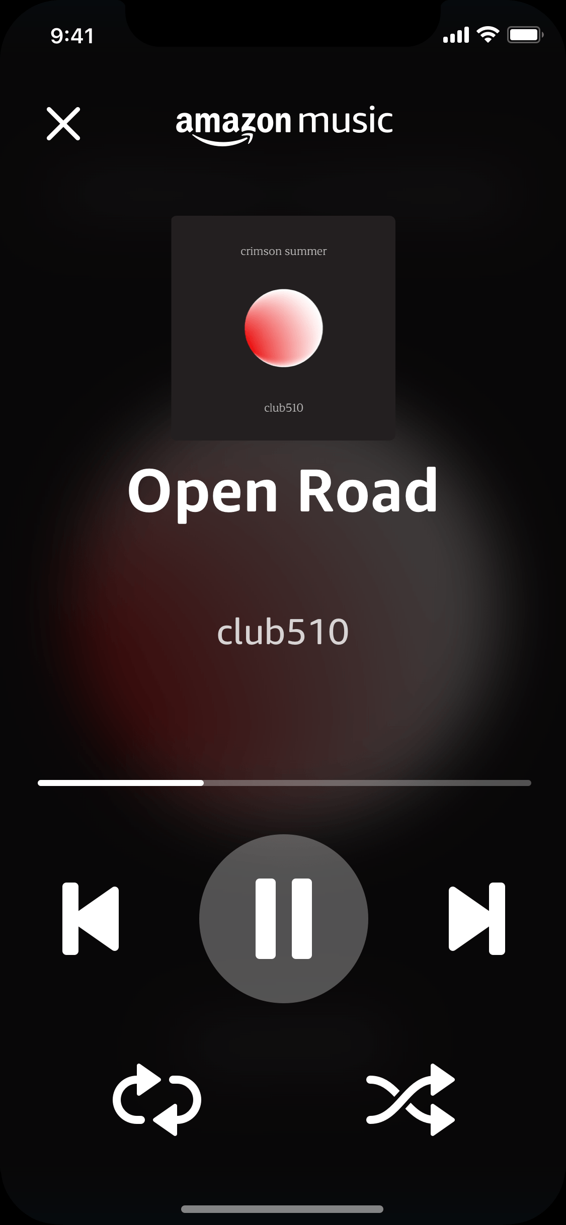 Alexa Auto Mode Now Playing screen