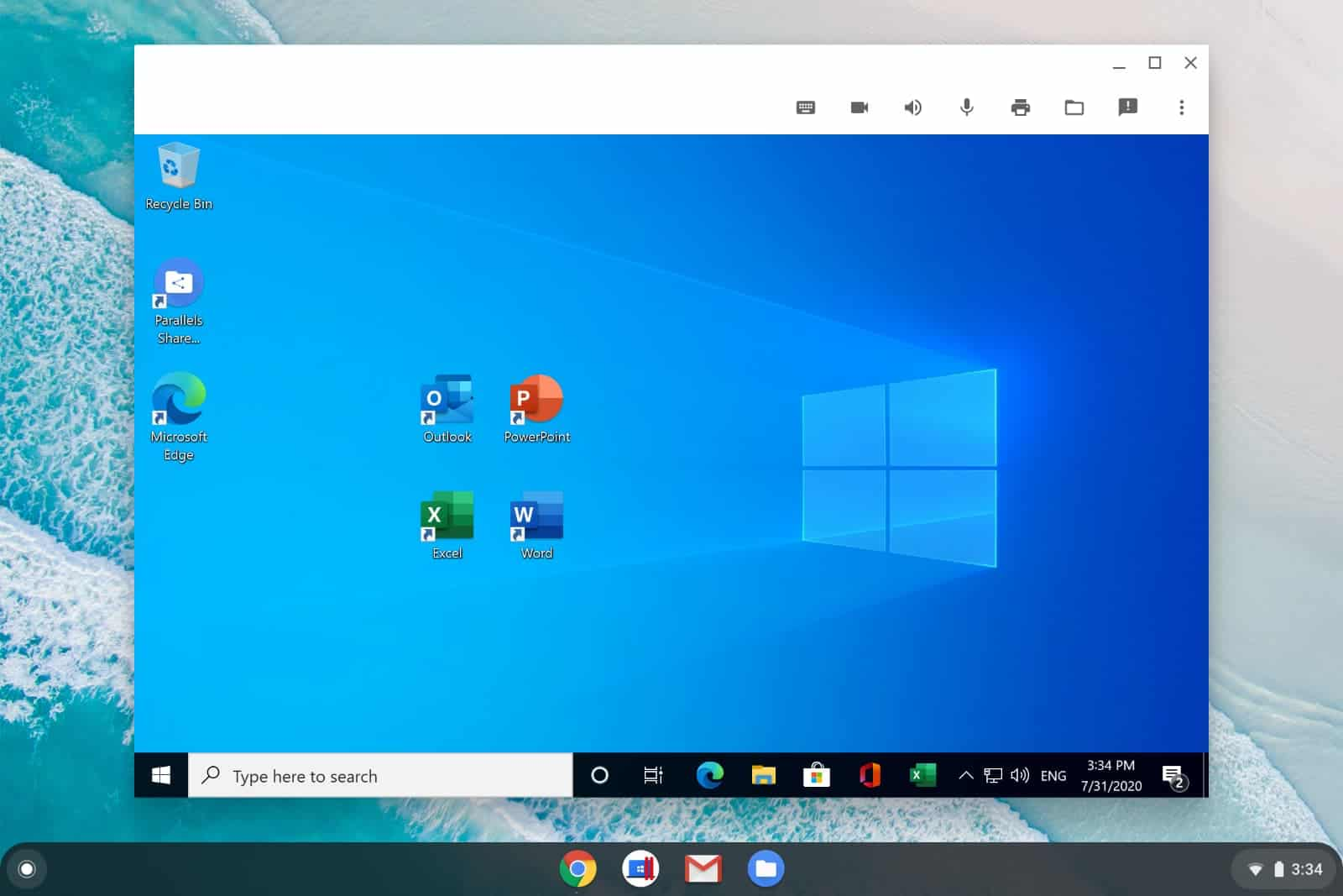 Full featured Office for Windows with Word Excel PowerPoint Outlook and Microsoft Edge on Chrome OS in Parallels Desktop for Chromebook Enterprise