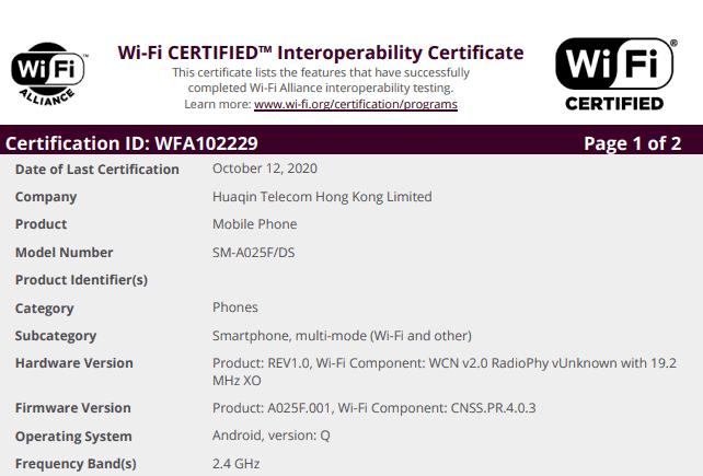 Galaxy A02 Wi Fi