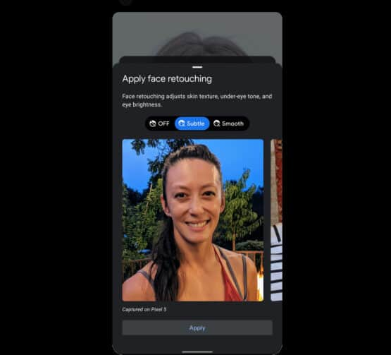 Google Camera selfie retouching option