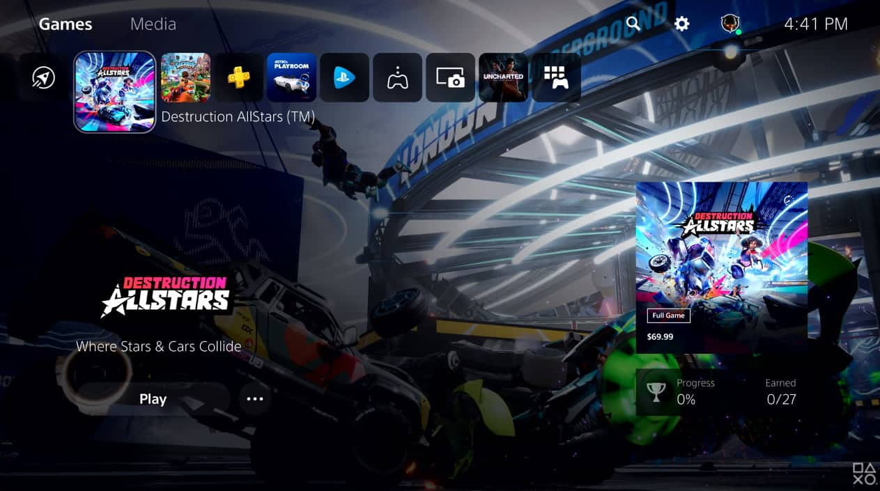 PS5 Home Screen UI