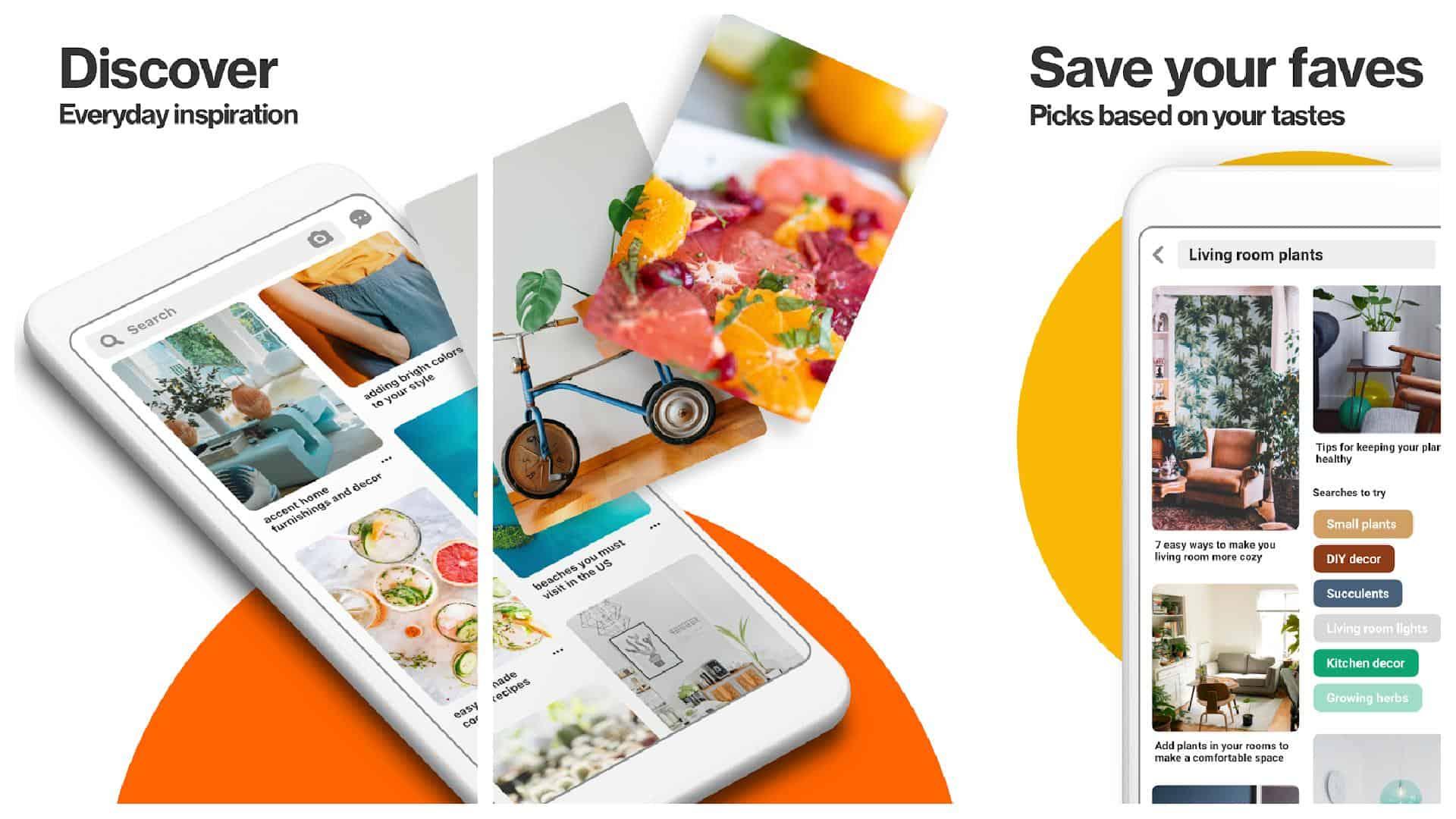 Pinterest app grid image