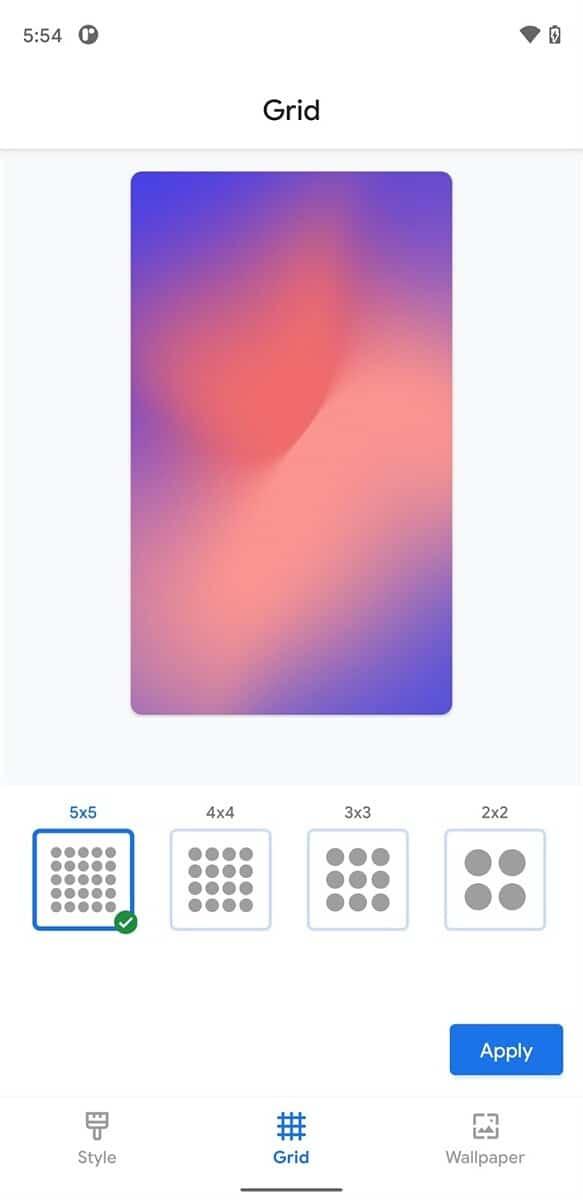 Pixel Launcher Grid size Options