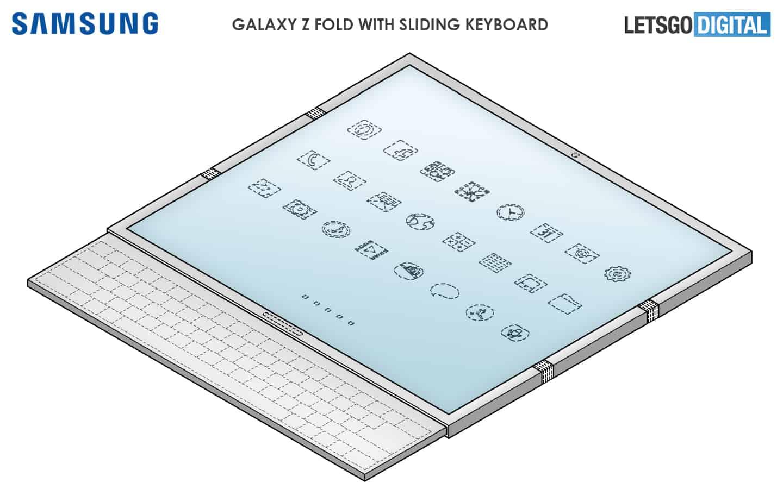 Samsung Galaxy Z Fold with sliding keyboard 1