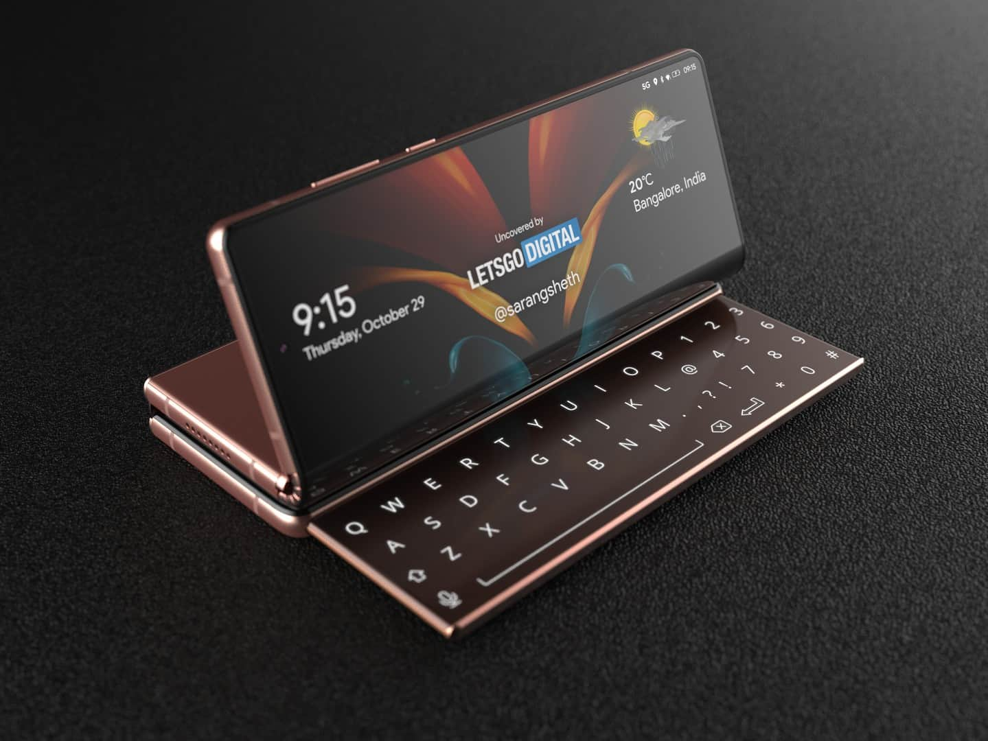 Samsung Galaxy Z Fold with sliding keyboard 7