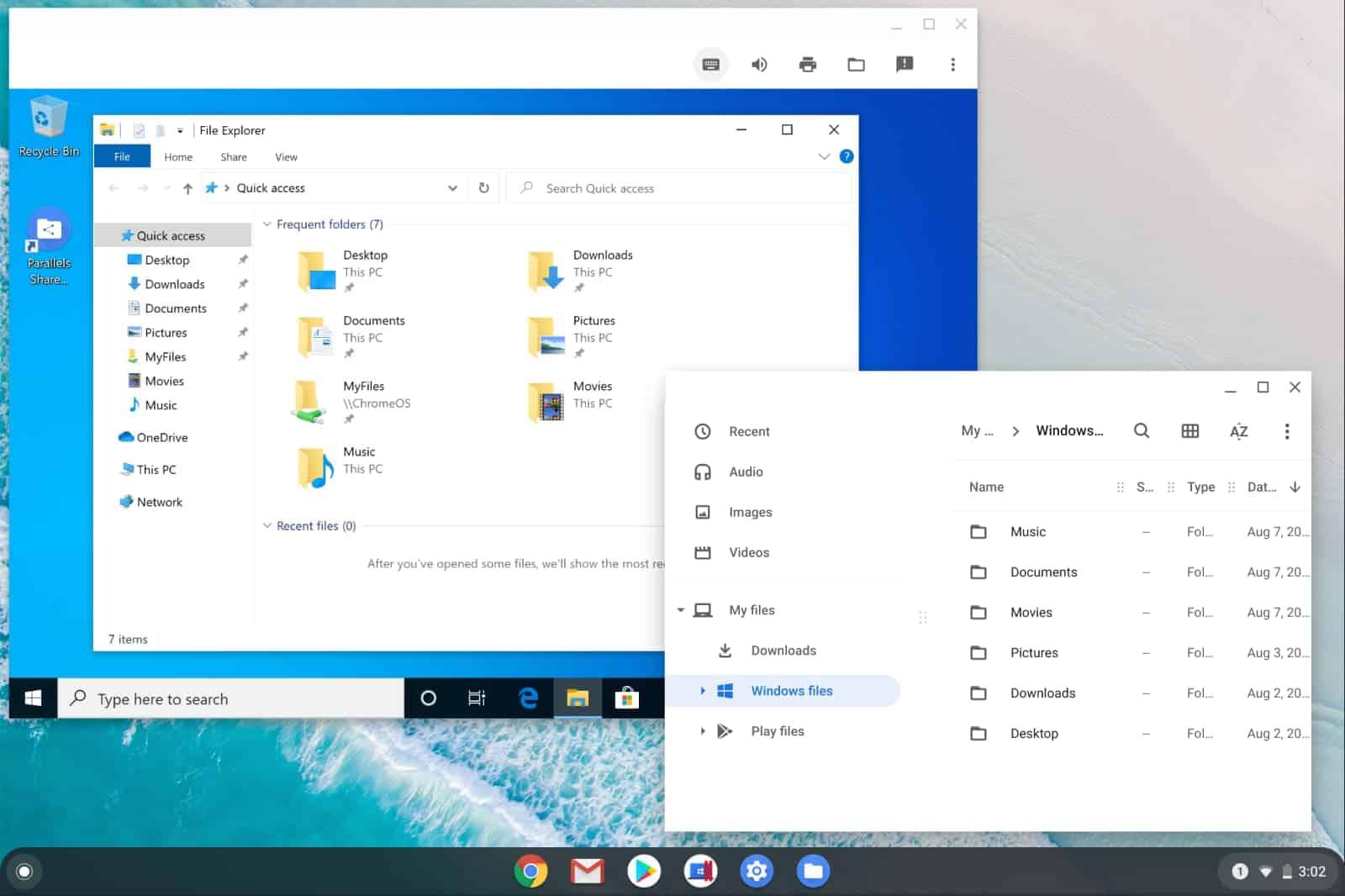 Shared folders and WIndows files in Chrome OS My Files and Windows File Explorere in Parallels Desktop for Chromebook Enterprise