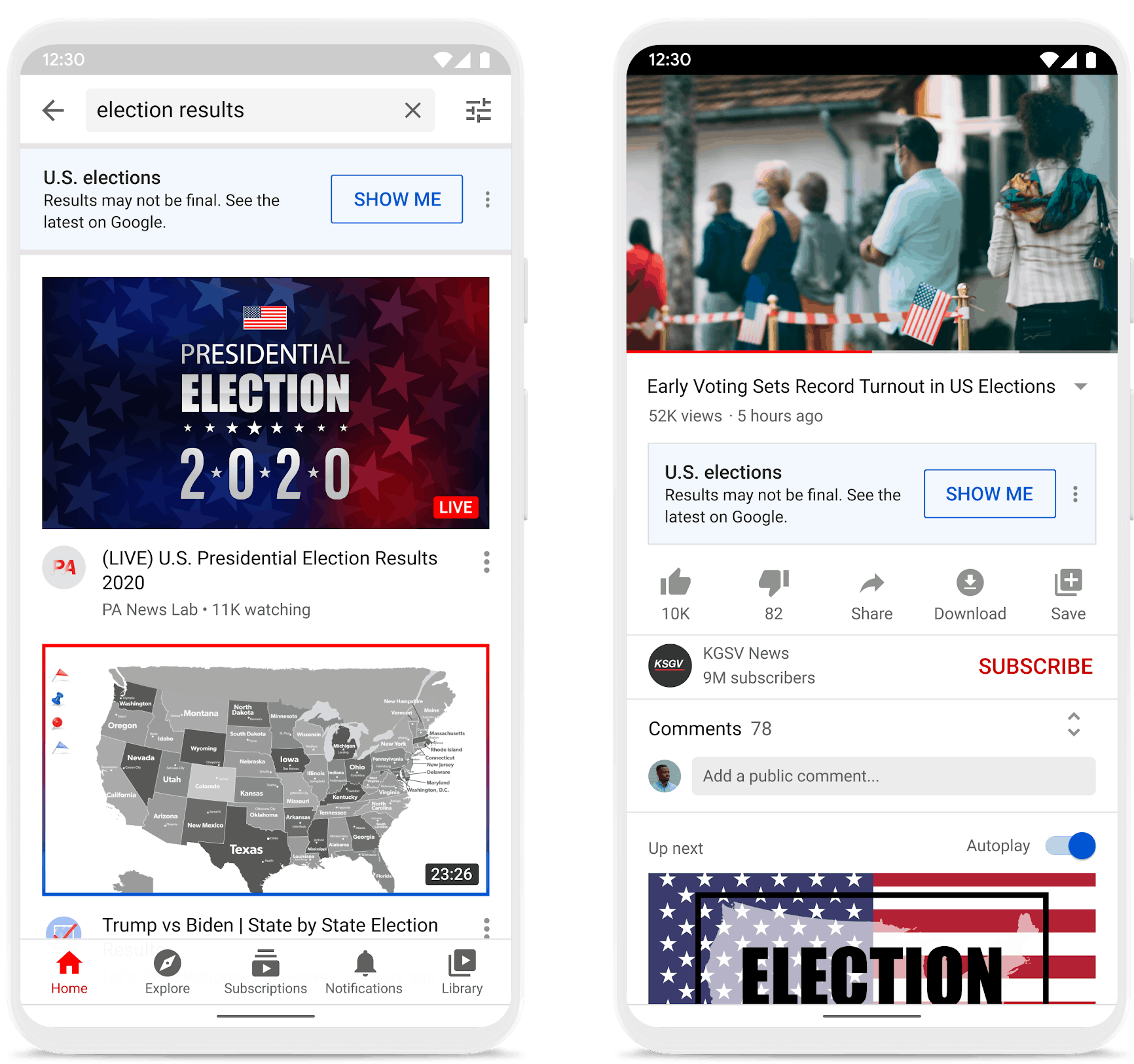 YouTube election results