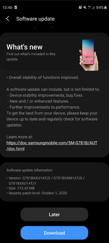 galaxy s20 fe touchscreen update