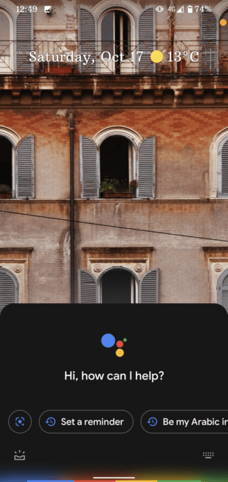 google assistant ui with gestures