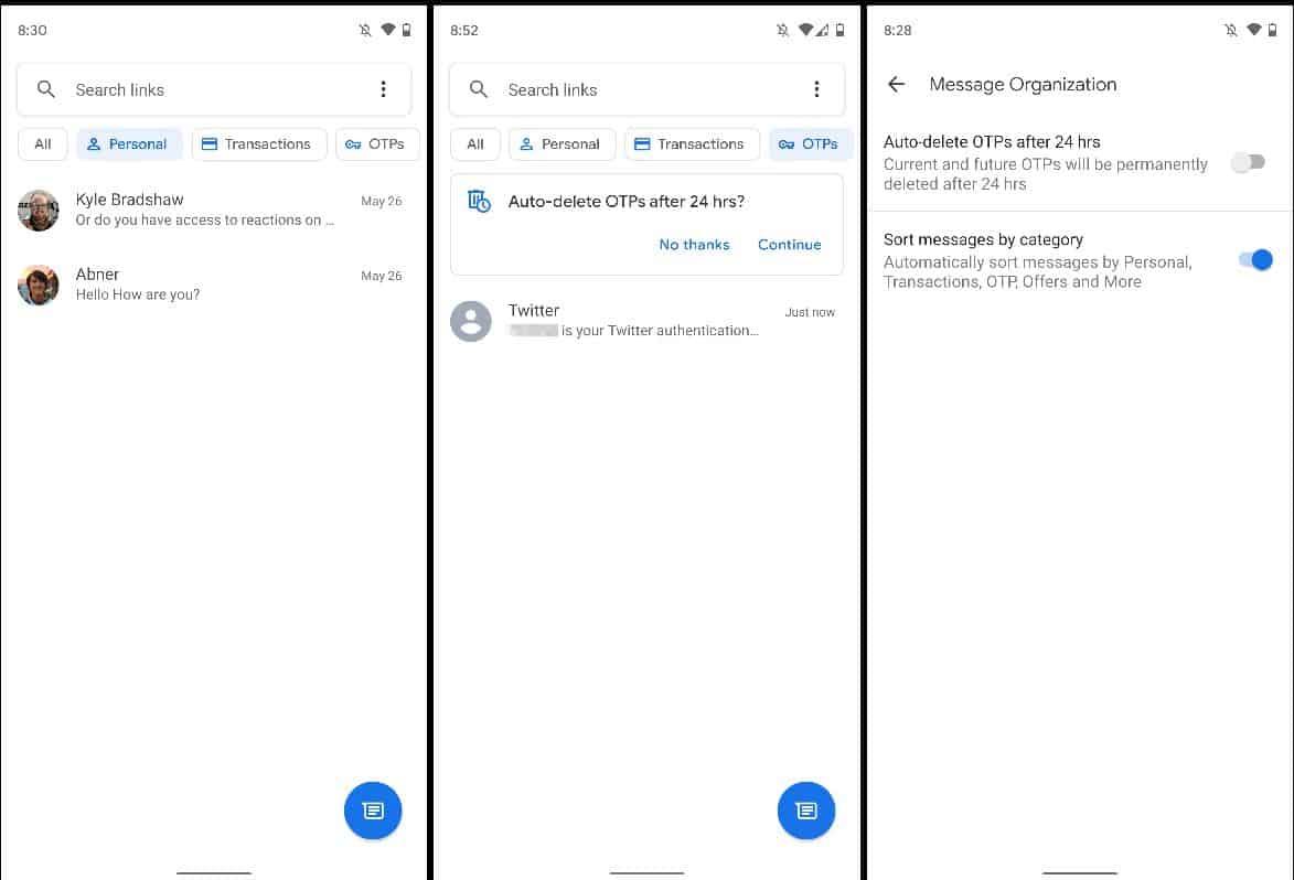 google messages message organization feature