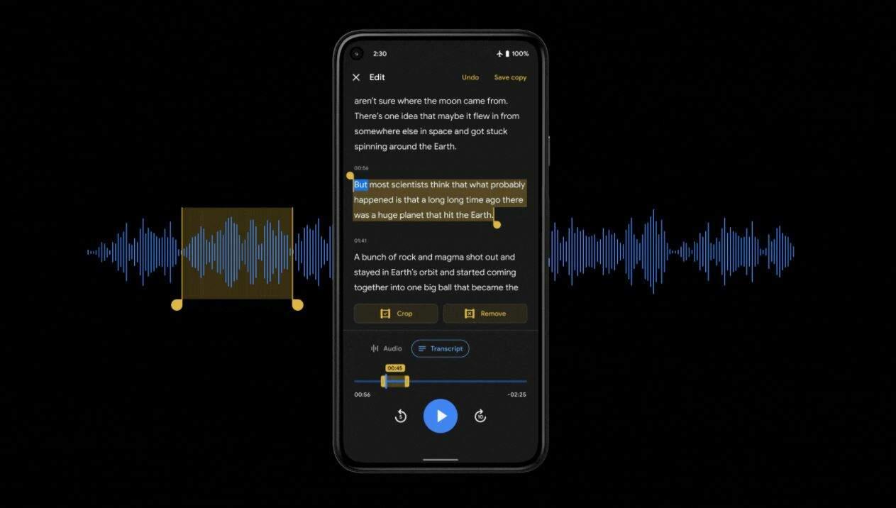 google recorder transcription based editor