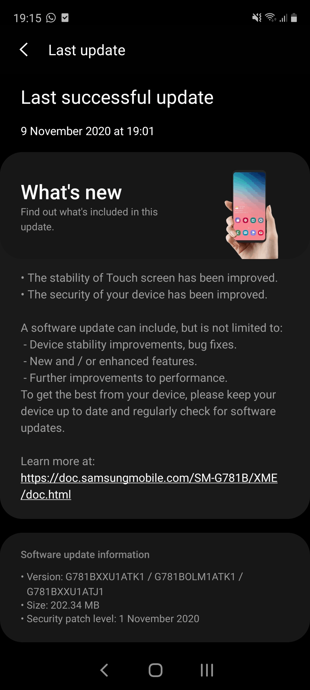 Galaxy S20 FE November update touchscreen issues