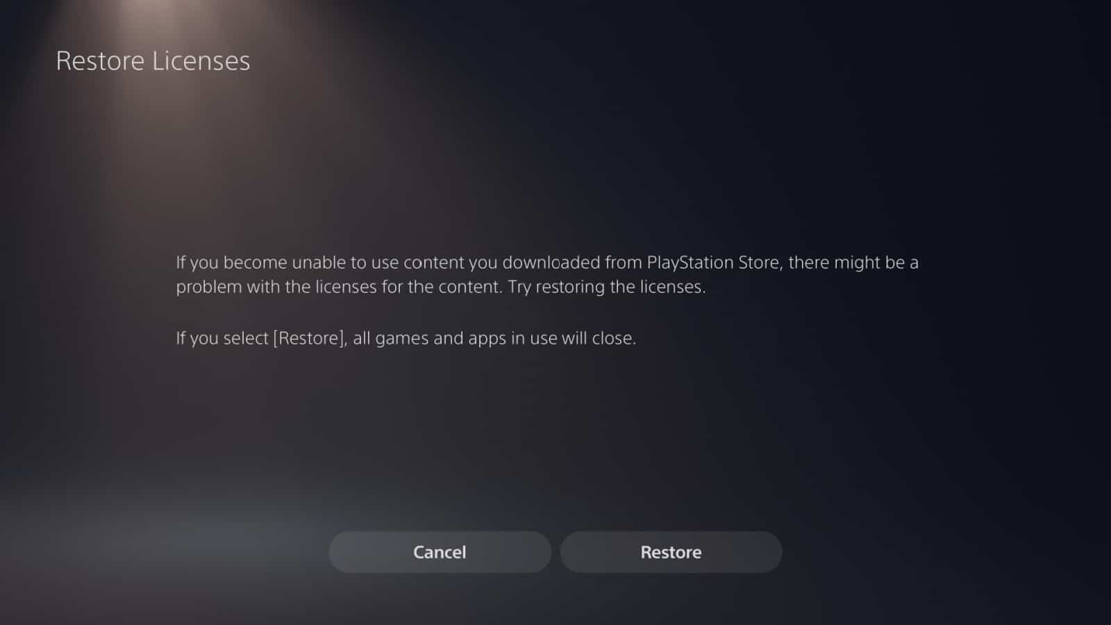 PS5 Restore Licenses 3