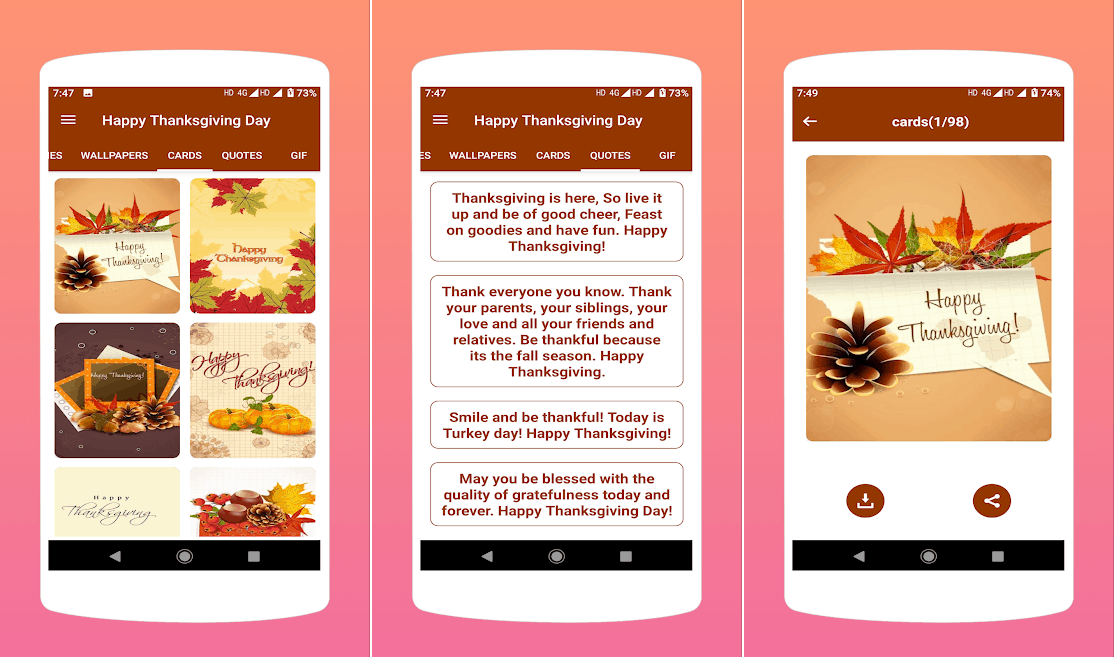 Thanksgiving cards wishes best Android apps