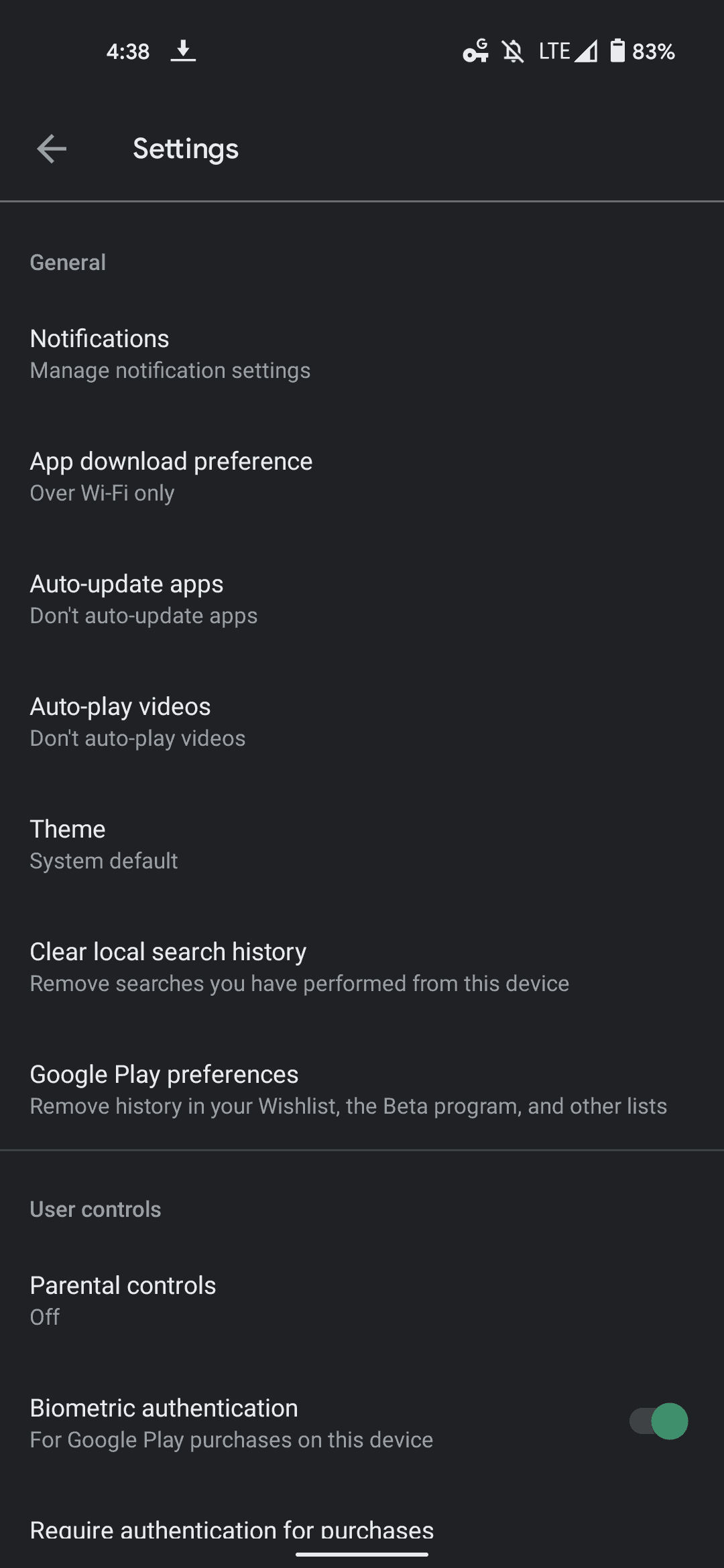 current play store settings