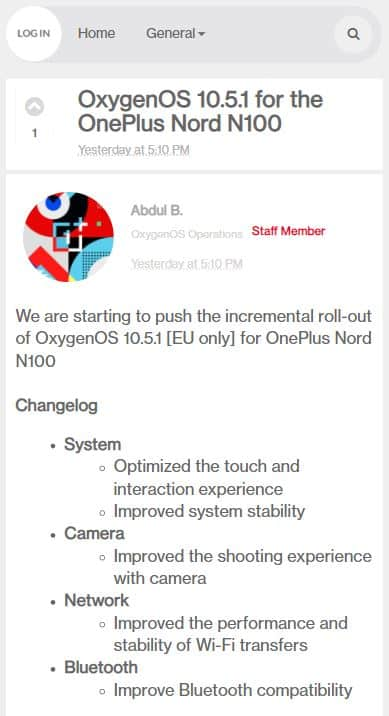 oneplus nord n100 oxygenos 10 5 1 update