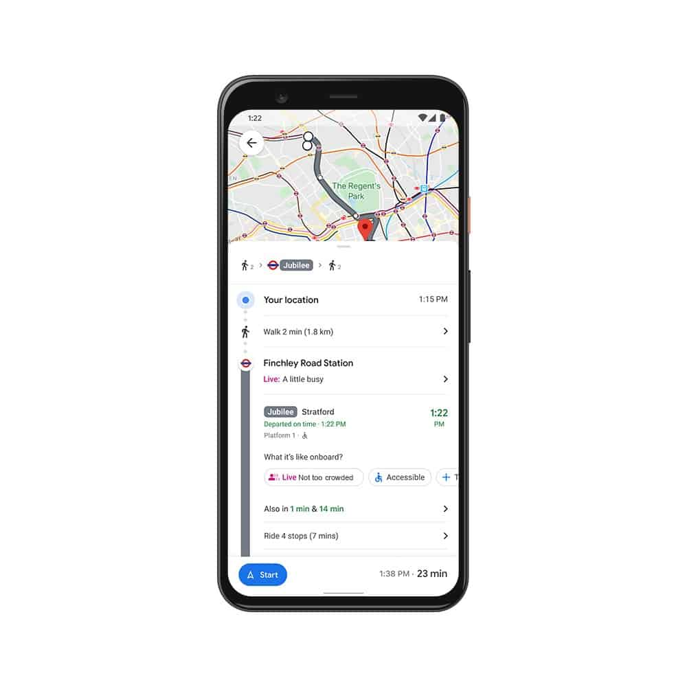 real time crowdedness google maps