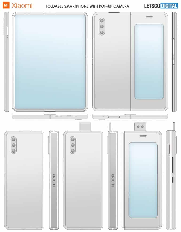 xiaomi foldable smartphone pop up camera patent