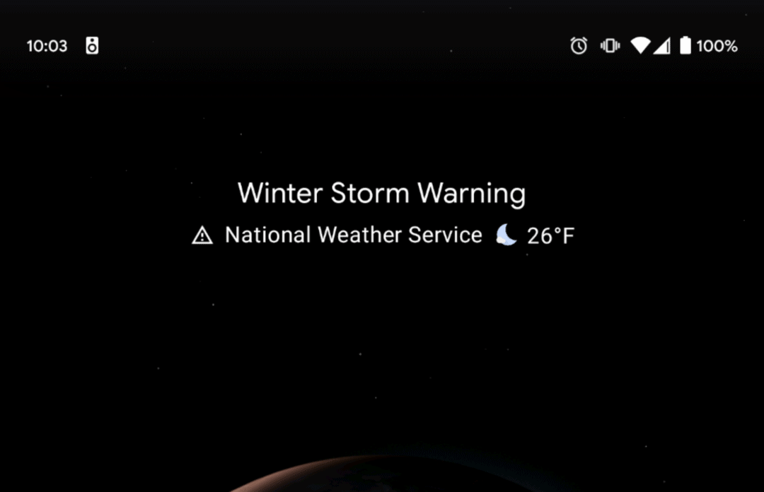 01 Pixel Launcher at a glance widget severe weather alerts from 9to5Google