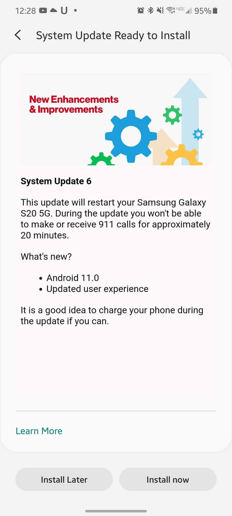 Android 11 Galaxy S20 Verizon update