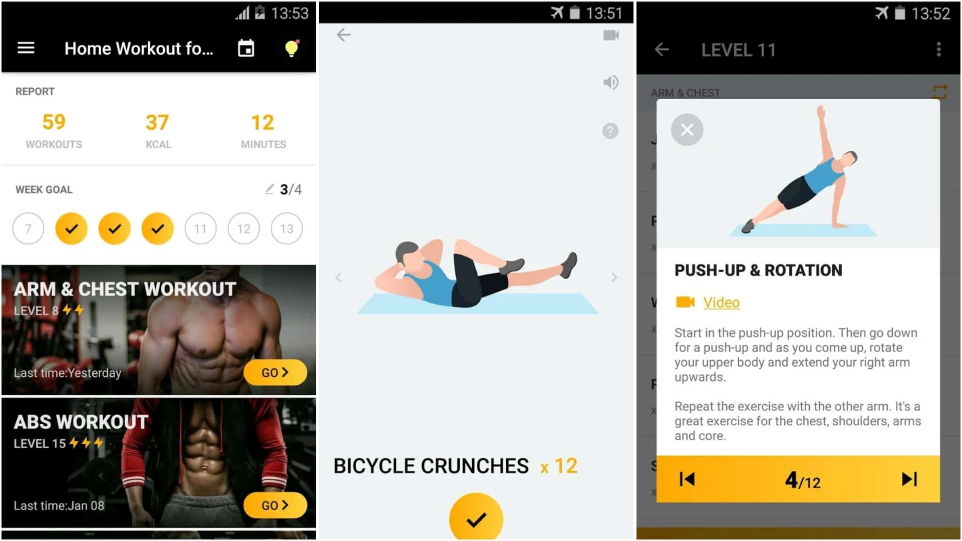 Home Workout for Men Bodybuilding app grid