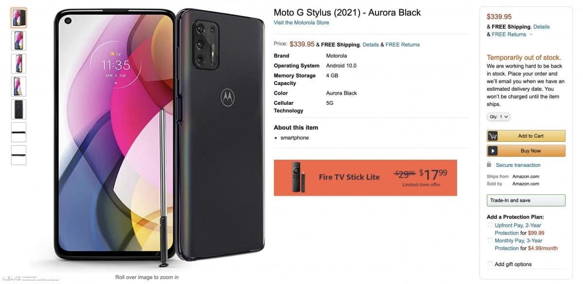 Motorola Moto G Stylus 2021 Amazon leak 4