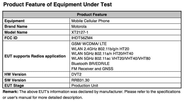 Motorola capri battery FCC