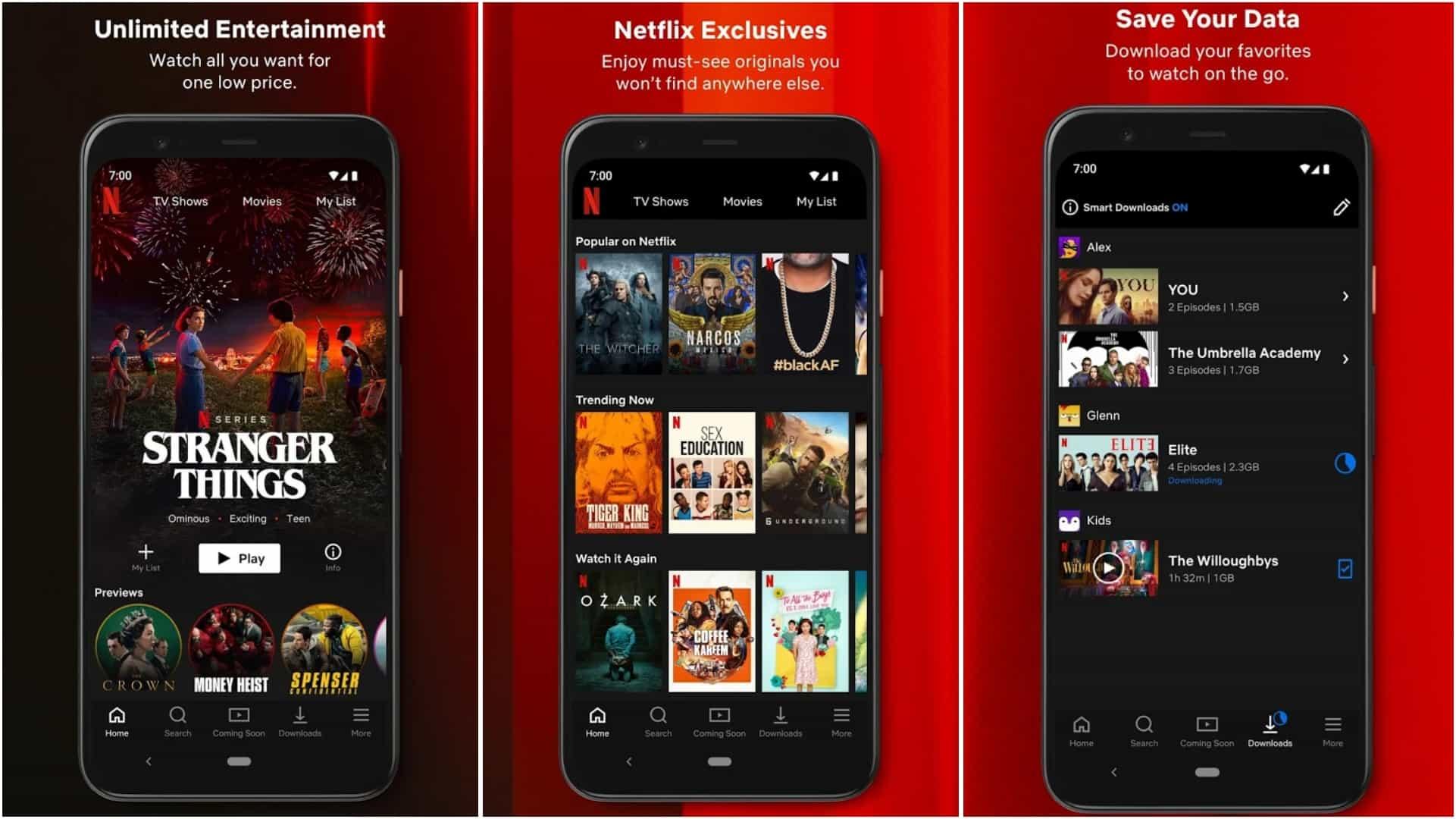 Netflix app grid
