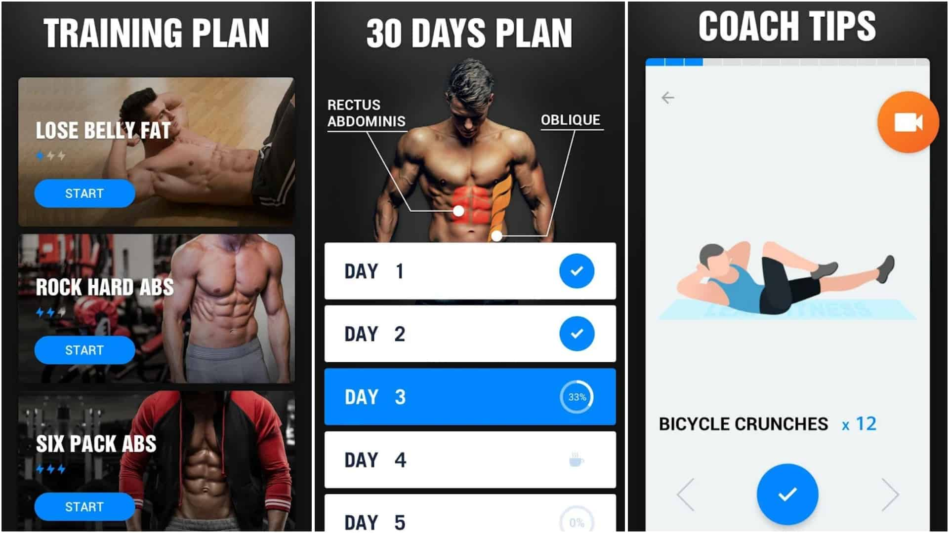 Six Pack in 30 Days Abs Workout app grid