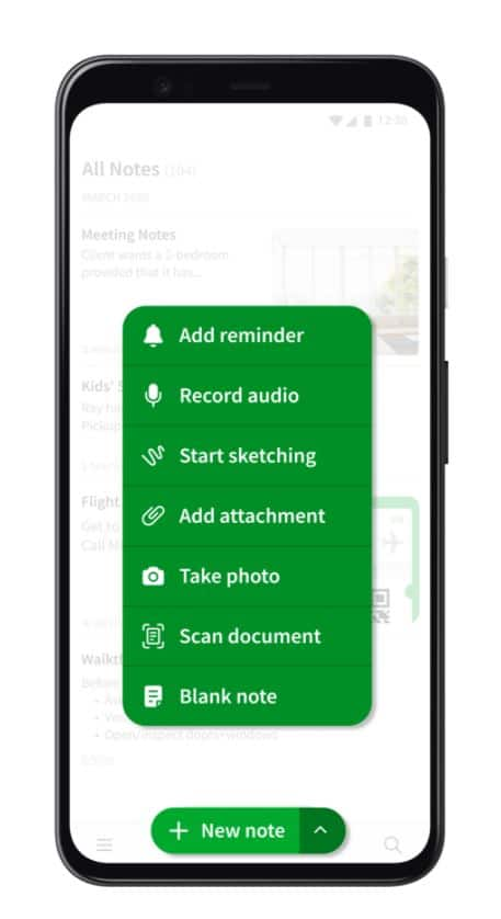 new button evernote