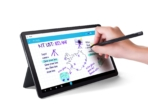 07-for CES-Embargoed- Lenovo Tab P11_stand mode_with pen_Slate Grey