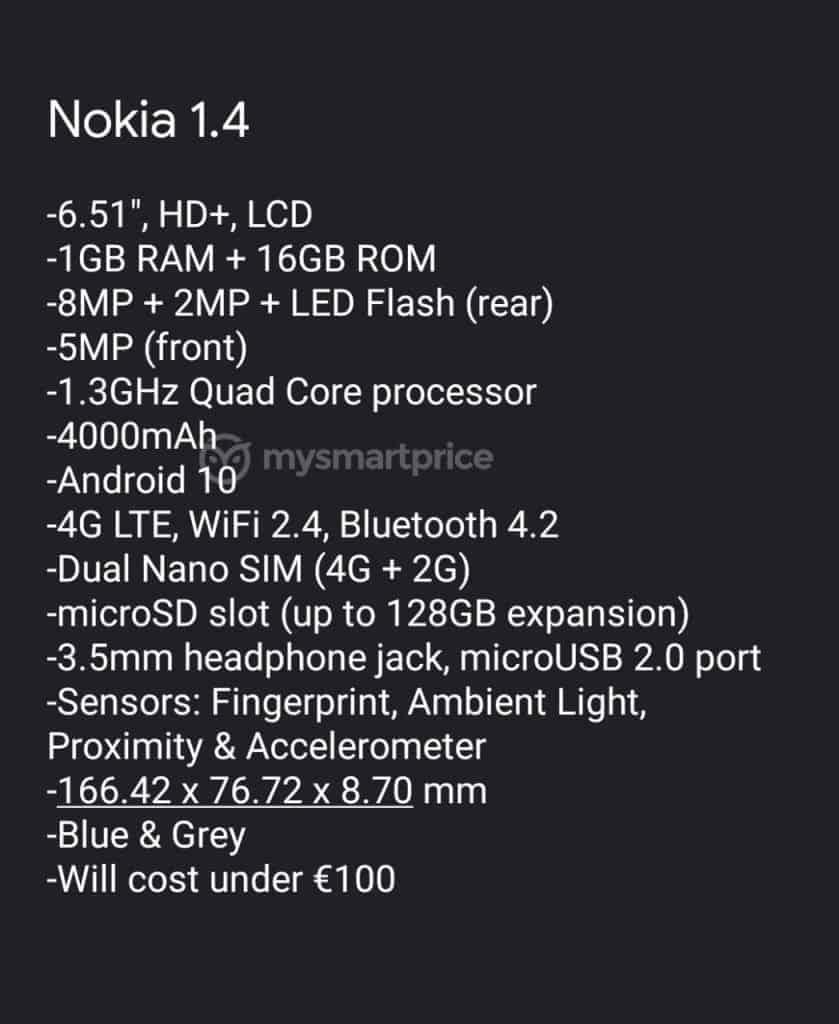 Nokia 1 4 specs leaked