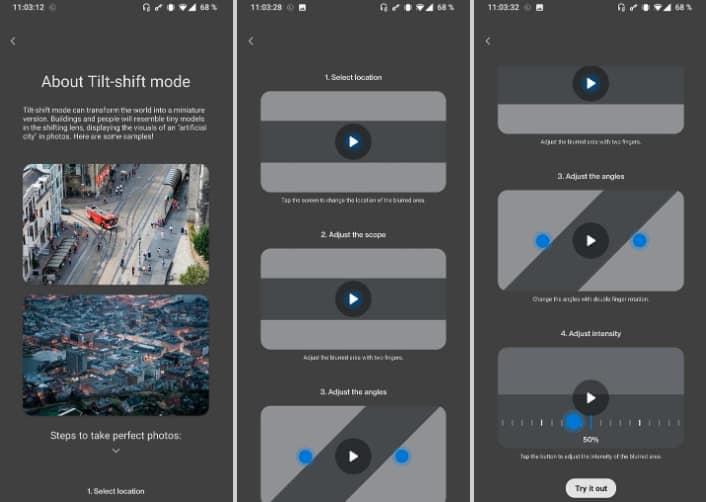 OnePlus camera tilt shift mode leak