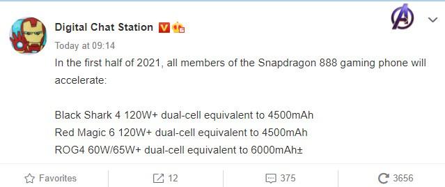 ROG Phone 5 Battery and mobile platform specs