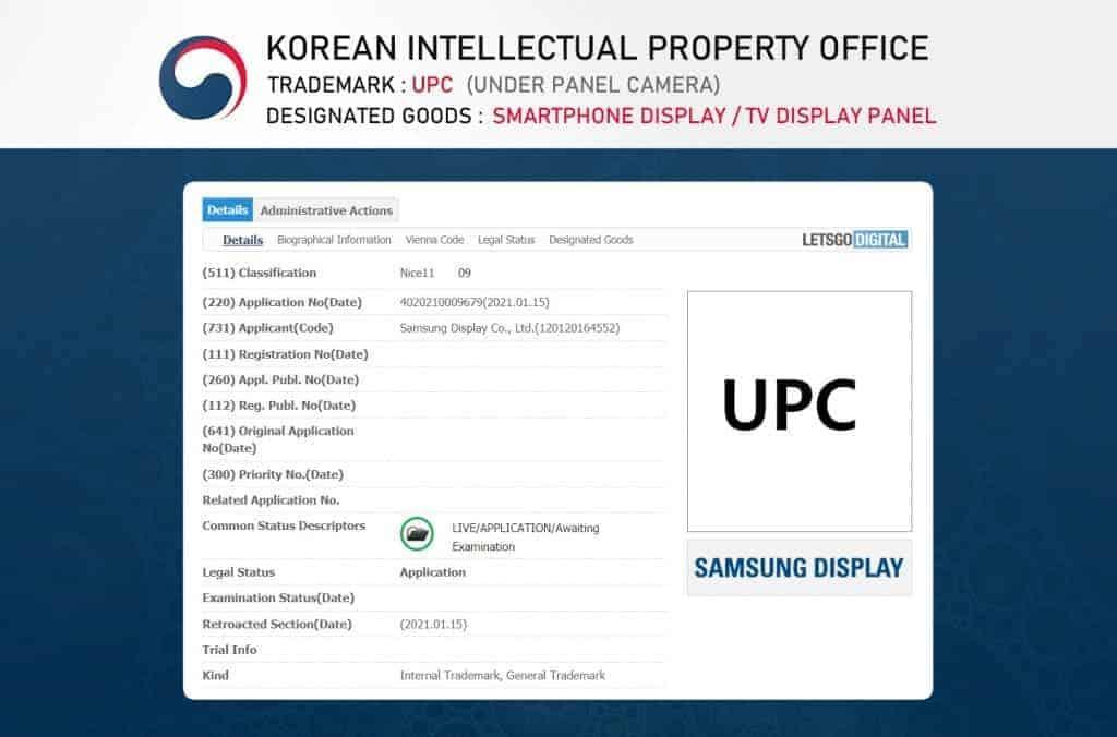 Samsung bajo patente de cámara de pantalla