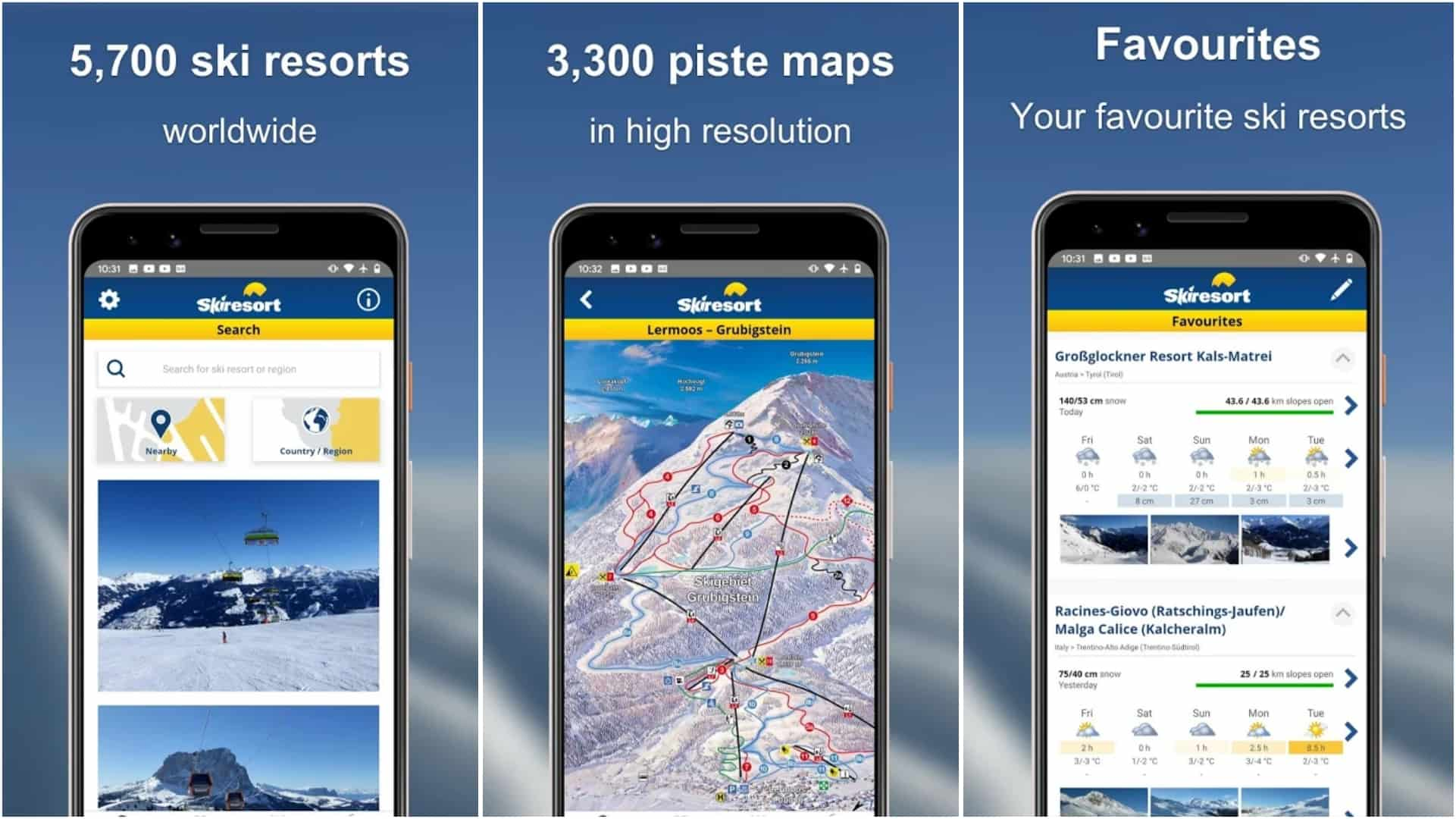 Skiresort info app grid