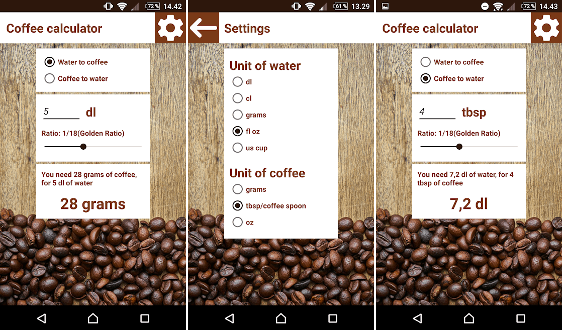 coffee calculator best coffee android apps