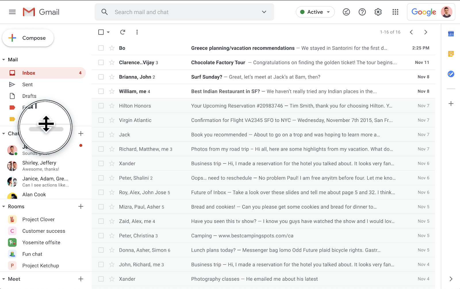 gmail resize chat and room