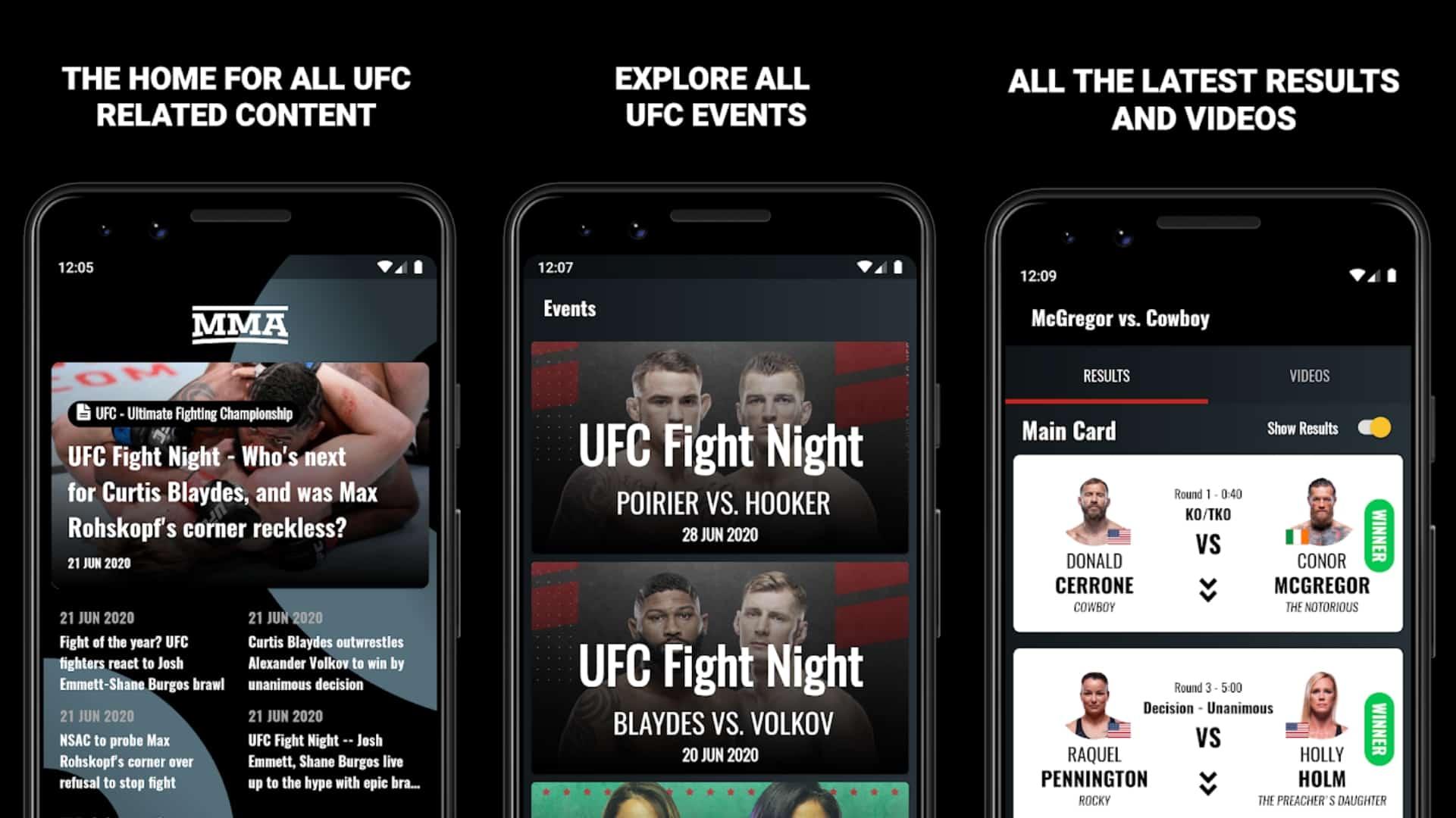 All MMA app grid
